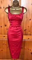 Karen Millen Exquisite  Red Satin Cocktail Wiggle Dress UK 14  Occasion Party