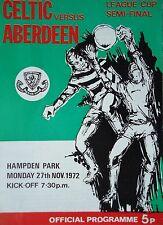 Programm League Cup Semi-Final 1972/73 Celtic - Aberdeen