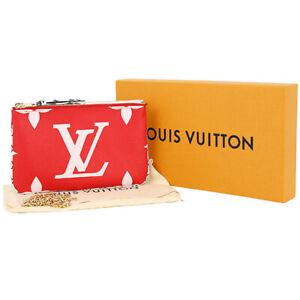 Louis Vuitton Crossbody Bag Pochette Double Zip Red Chain Shoulder Pouch LV New