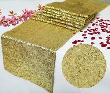 10 Pc 12 x 108 inch Gold Sparkly Sequin Runner Table Runner For Wedding Banquet