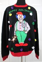 Blizzard Bay Men's Happy Holiday Christmas Clown Ugly Sweater E66264 Large Black