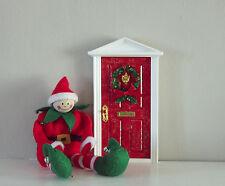 Christmas elf fairy red door wooden miniature magical dust key