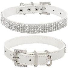Collar Cuero de Cocodrilo Blanco con Diamantes Para Perro Tamaño Pequeño