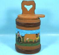 "17"" Antique Swiss BUTTER BUCKET BASKET Wood Carve Oil Paint Cow Bell Naive c1890"