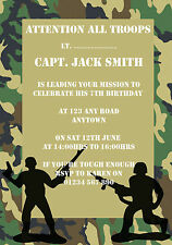 10 PERSONALISED ARMY MILITARY BIRTHDAY PARTY INVITATIONS