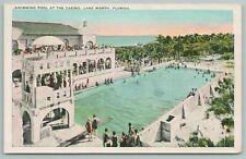 Lake Worth Florida~Swimming Pool At Casino Aerial View~Vintage Postcard