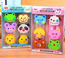 FD3862 Creative Animal Eraser Rubber Pencil Stationery Children Gift 1 Box/6PC ♫