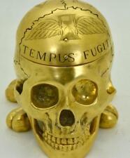WOW! UNIQUE Verge Fusee 18k gild sterling silver Memento Mori Skull Clock c1747