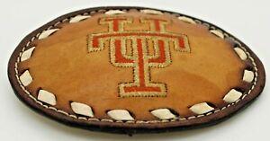 Vintage Leather University of Texas UT Leather Belt Buckle