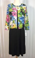 NWT Connected Black Dress Stretch 4P Floral Tiered Jacket 2 Piece NEW