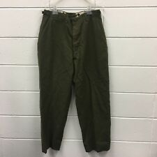 VINTAGE Olive Drab Military Wool Field Trousers Button Fly 30x29