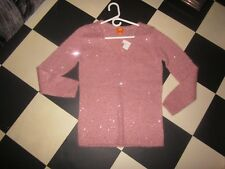 Joe Fresh NWT Pink sequin Wool Mohair V neck Pullover tunic sweater jumper Top S