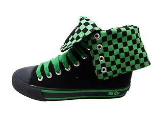 NEW UNDERGROUND UNISEX CANVAS CHECKERBOARD BLACK / GREEN HI TOPS SHOES BOOTS 4-7