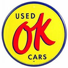 OK USED CARS ROUND METAL SIGN