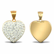 Forever Mine 9ct Yellow Gold White Crystal Love Heart Charm Pendant
