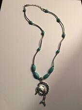 Dolphin Pendant Tibetan Silver Vintage Bohemian Turquoise NECKLACE-N1100
