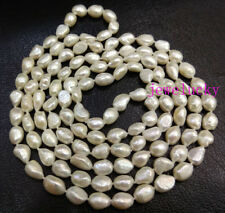 Genuine white pearl 10mmx14mm baroque beads necklace 60 inches long no metal