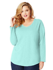 New Just My Size 3X  Cotton Blend Center Seam L/S V Neck Tee Top Lucite Mint