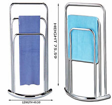 3 Tier Towel Holder Free Standing Chrome Bathroom 3 Rail Rack Stand Bow Fronted