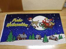Fahnen Flagge Frohe Weihnachten Rentier Schlitten Blau - 90 x 150 cm