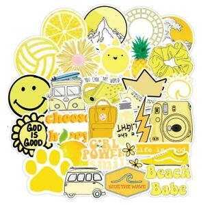 50Pcs Yellow Vsco Stickers Bomb Pack Skateboard Luggage Laptop Fridge Decals Lot