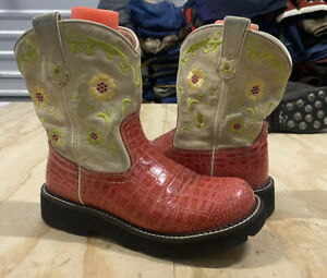 Ariat Womens Pink Croc Leather Mid Calf Casual Western Cowgirl Boots Size 9 B