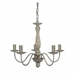 Searchlight Sycamore Five Arm Chandelier in Washed Grey Wood Finish