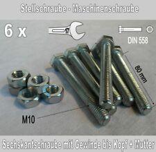 Sechskantschrauben Machinenschrauben 6 St. M10 x 80 Gewinde bis Kopf und Mutter