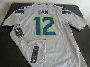 SEATTLE SEAHAWKS Football NIKE Replica #12 Fan Size LARGE Jersey NEW Gray NFL