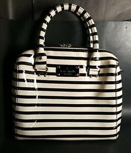 "Kate Spade New York Cream Black Patent Leather Bag Purse 2 Handle 10""L 9.5""T 5""W"