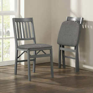 Stakmore Wood Folding Chair with Upholstered Seat, 2-pack