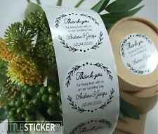 Personalised Wedding Stickers 100 custom printed White Round labels Large 50mm