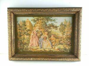 "Tapestry Needlework 18""x14"" Victorian Man Woman Lamb Proposal on Knee Art"