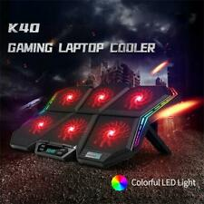 RGB Laptop Cooling Pad LED Screen Gaming Laptop Cooler with 6 High-Speed Fans FS