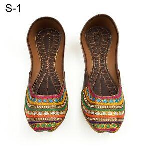 Indian Punjabi Pakistani Khussa Traditional Embroidered Ethnic Flats Shoes - S1