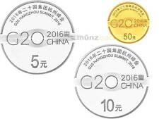 5 + 10 + 50 Yuan G20 Hangzhou Summit Gipfel China Silber + Gold Set PP 2016