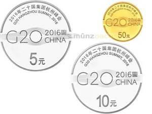 5+10+50 Yuan G20 Hangzhou Summit China Silver + Gold Set Pf 2016