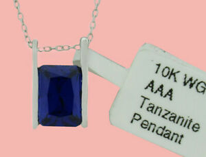 AAA TANZANITE 1.79 Cts SLIDE NECKLACE 10k WHITE GOLD ** New With Tag **