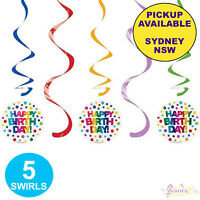 RAINBOW PARTY SUPPLIES HAPPY BIRTHDAY 5 HANGING SWIRL DECORATIONS