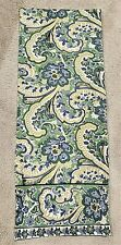 """April Cornell green gold blue bold paisley print cotton table runner 13"""" x 70"""""""