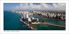 Poster Panorama San Juan Condado Puerto Rico Helicopter Fine Art Print Panoramic