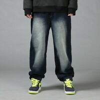 Mens HipHop Jeans Denim Baggy Pants Stonewashed Relaxed Hipster Loose Streetwear