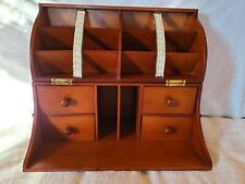 Vintage Mid Century Table Top File Box w Mail Slots and Drawers