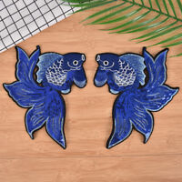 1pair fish embroidered patches stripes for clothing badges sew on diy patches  Z