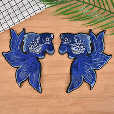1pair fish embroidered patches stripes for clothing badges sew on diy patches、WK