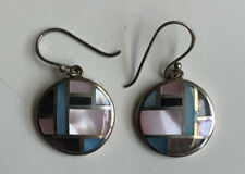 VINTAGE SIGNED 925 STERLING SILVER MOP INLAY TIC TAC TOE PINK ROUND EARRINGS