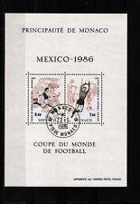 MONACO  bloc  coupe du monde de football   1986    num: BF 35  oblitéré