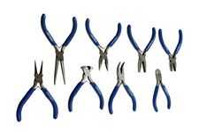 US PRO by BERGEN 8pc MINI PLIER SET IN CASE Long Flat Angled Nose Cutters 1997