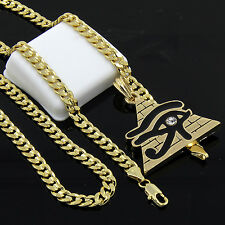 "Men's Gold Plated Hip-Hop Eye of Ra Egypt Pyramid 24"" Cuban Chain Necklace D538"
