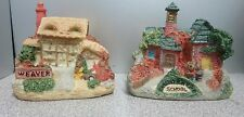 """Set Of Miniature Ceramic School House And Weaver House 2.5"""" Tall"""